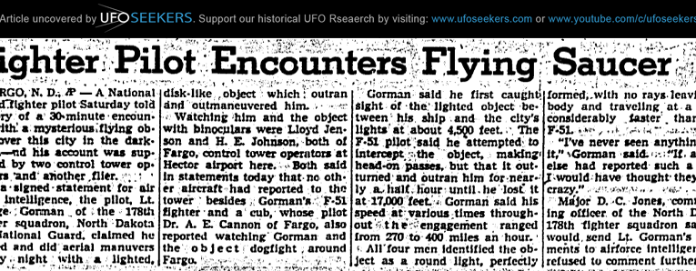 National Guard Fighter Pilot Encounters UFO Over Fargo, North Dakota