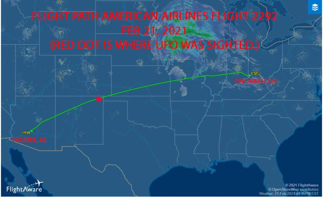 American Airlines Crew Reports UFO at 37,000 Feet.