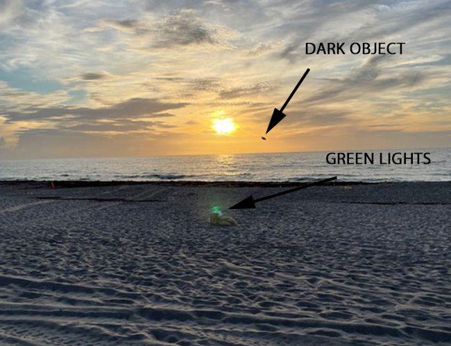Dancing Green Lights on Beach & Strange Object by Sun.
