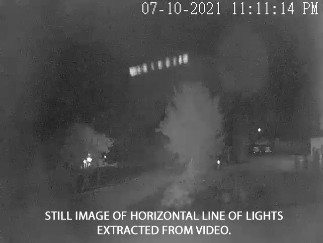 Security Camera Detects Lights in Horizontal Pattern.