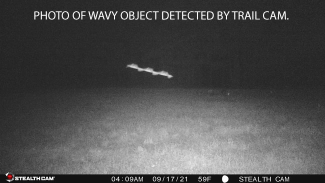 Trail Cam Detects Wavy Shaped Object.